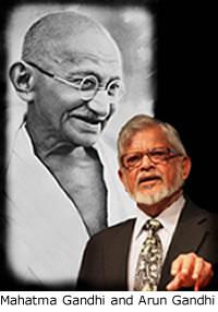 Mahatma Gandhi and Arun Gandhi